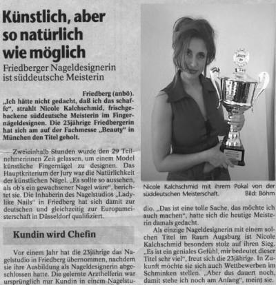 Zeitungsausschnitt zur Dt. Meisterschaft