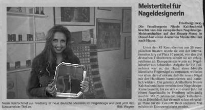 Zeitungsausschnitt zur Dt. Meisterschaft im Naildesign 1999