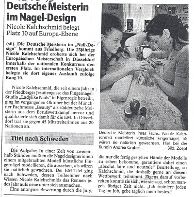 Zeitungsausschnitt Dt. Meisterin Naildesign 1999