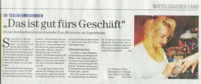 Zeitungsartikel zur Fize-Meisterin im Naildesign