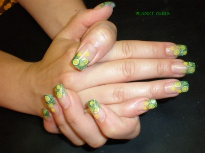 Green Lemon - Tutti Frutti Fimo Früchte Variationen Nailart mit Glitter