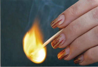 Flammen in Glitter rot gold orange
