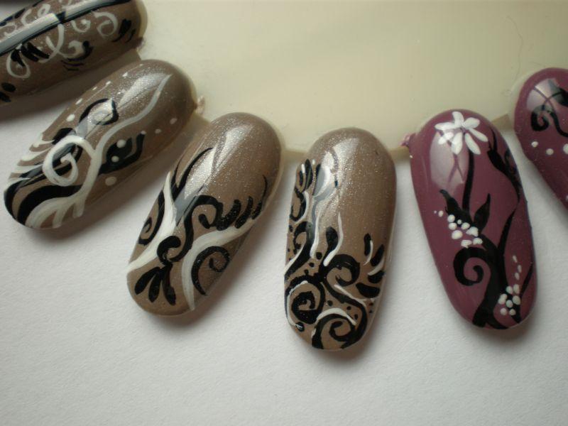 Nail Art Ornamente Winter Und Herbstfarben Fineliner Schablone